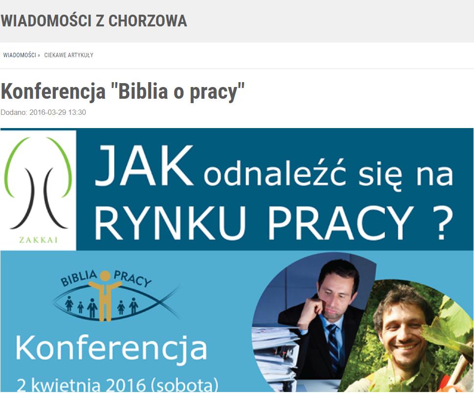 """Mój Chorzów – Konferencja """"Biblia o pracy"""""""