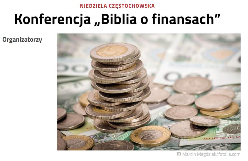 """Niedziela – Konferencja """"Biblia o finansach"""""""
